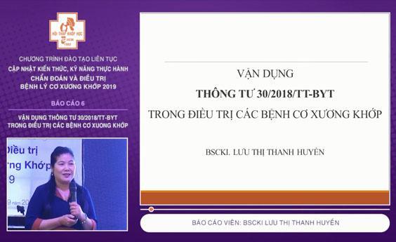 [Video] Vận dụng thông tư 30/2018/TT-BYT trong điều trị các bệnh cơ xương khớp - BSCKI Lưu Thị Thanh Huyền